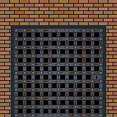 Old prison door in the wall