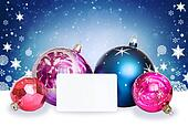 Christmas balls, snowflakes and white card