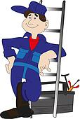 workman with ladder looks