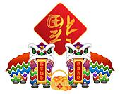 Chinese Lion Dance Pair with Symbols Illustration