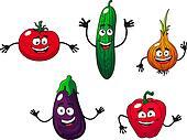 Cucumber, pepper, onion, eggplant and tomato