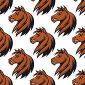 Seamless pattern with majestic stallion