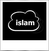 instant photo frame with cloud and islam word