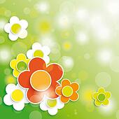 Easter Card Background Colored and White Flowers