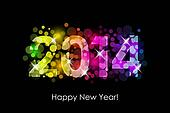 Happy New Year - 2014 colorful