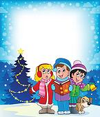 Christmas carol singers theme 4