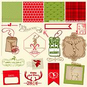 Scrapbook Design Element - Christmas Reindeer Set - frames, tags, labels, silhouettes - in vector