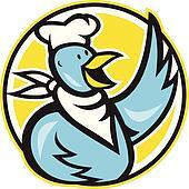 Chicken Chef Cook Waving Hello
