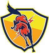 Red Horse Jump Lightning Bolt Shield Retro