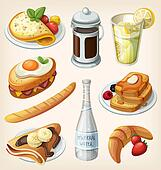 Set of french breakfast elements