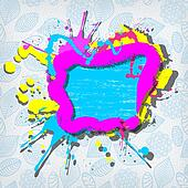 Cute colorful grunge frame on a blue floral background