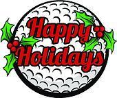 Golf Happy Holidays Stacked