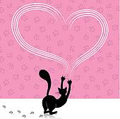 Valentine day cat scratching heart