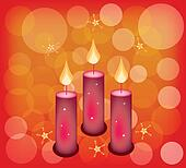 Three Candles on A Red Abstract Bac