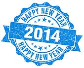 Happy new year 2014 grunge blue stamp