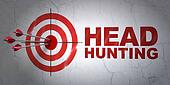 Finance concept: target and Head Hunting on wall background