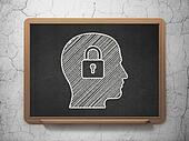 Finance concept: Head With Padlock on chalkboard background