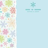 Colorful Doodle Snowflakes Square Torn Frame Seamless Pattern Background