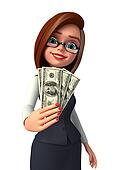 Business Woman with dollars