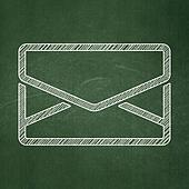 Finance concept: Email on chalkboard background
