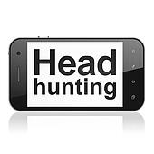 Business concept: Head Hunting on smartphone