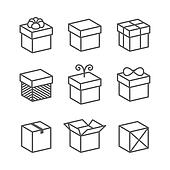 Gift Box Icons, Holiday Presents