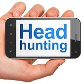 Finance concept: Head Hunting on smartphone