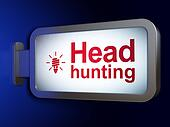 Finance concept: Head Hunting and Energy Saving Lamp on billboard background