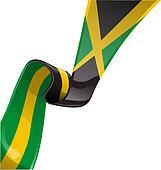 jamaica ribbon flag isolate on whit