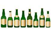 set glass beer bottles