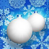White christmas balls and snowflakes