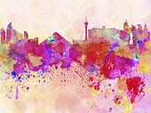 Las Vegas skyline in watercolor background