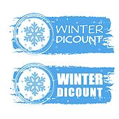 winter discount with snowflake on blue drawn banners