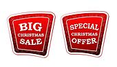 big christmas sale and special christmas offer - text on red banners with snowflakes signs, retro style, business holiday concept