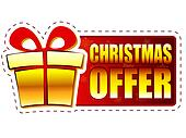 christmas offer and gift box on red banner with snowflakes
