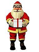 Santa Claus holding gift box 3d illustration