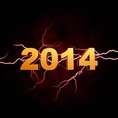 golden new year 2014 with lightning