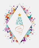 Merry Christmas colorful elements greeting card