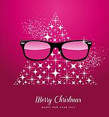 Hipster Merry Christmas and Happy New Year greeting card