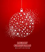 Merry Christmas and Happy New Year stars bauble card