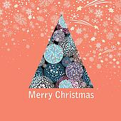 New year greeting card with a beautiful Christmas tree