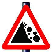 Danger Falling Rocks Traffic Sign