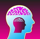 man with brain vector illustration