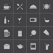 Vector black food icons set