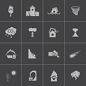 Vector black  disaster icons set