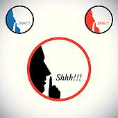 young man saying shh & gesturing using his forefinger - concept vector. This graphic contains a young male person raising his hand  indicating to stop talking, making noise & to be silent