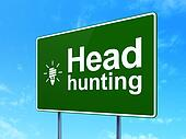 Finance concept: Head Hunting and Energy Saving Lamp on road sign background