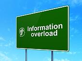 Information concept: Information Overload and Head With Gears on road sign background