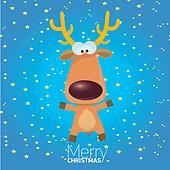 vector cartoon Christmas reindeer character.