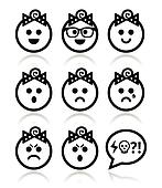 Baby girl faces, avatar vector icon